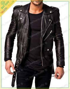 New Men's Genuine Lambskin Leather Jacket Black Slim fit Biker Motorcycle jacket #USLEATHEROUTFIT #Motorcycle