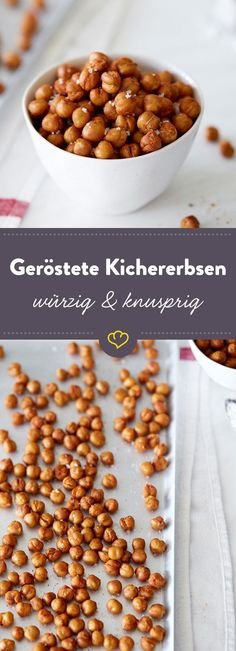 Gesunder Snack: Geröstete Kichererbsen Crunchy, spicy, aromatic: roasted chickpeas are the best snack in between. In salads and soups they provide extra crunch. Snack Mix Recipes, Smoothie Recipes, Healthy Snacks, Healthy Recipes, Crunches, Sauce, Organic Recipes, Food Inspiration, Tapas