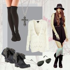 Today's Look- Model's Choice- Hailee Lautenbach.   Pair your Chop Siouxy Victoria Dress with a crochet cardigan from Top Shop, sweater socks from Shopbop.com, boots from Steve Madden, Ray Ban aviators and finish the look with a long cross necklace from Forever 21.