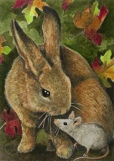 Bunny Rabbit and Mouse Art by Melody Lea Lamb by MelodyLeaLamb