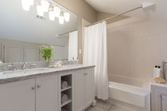 Bathroom-shelves in vanity Property Brothers, Bathroom Shelves, Bathroom Lighting, Vanity, Mirror, Furniture, Home Decor, Siblings, Little Cottages