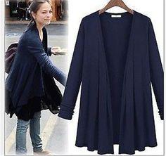Womens long sleeve Irregular top shirt v-veck cape dress 4 colors Size10-22