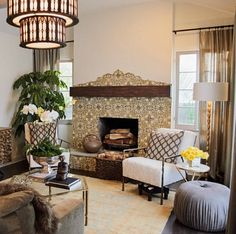 In love with the fireplace! {hookedonhouses blog~ American Dream Builders Dann's tiled fireplace}
