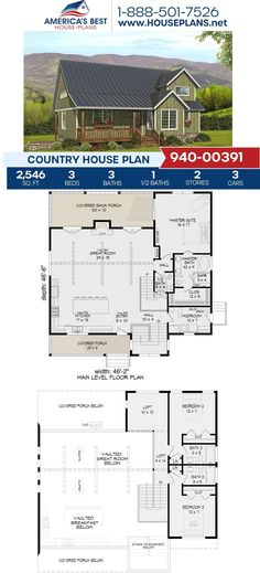 Plan 940-00391 is calling your family's name. This Country design is fulfilled with 2,546 sq. ft., 3 bedrooms, 3.5 bathrooms, a vaulted great room, a covered porch, and a loft. Checkout our website for more information. #countryplans #countryhomes Country House Plans, Best House Plans, Build Your Dream Home, Square Feet, Great Rooms, Architecture Design, Living Spaces, Porch, Bathrooms
