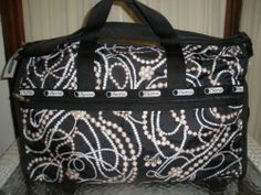 LESPORTSAC LARGE WEEKENDER CHARLESTON 7185 PEARLS DUFFLE CARRY ON & COSMETIC NWT