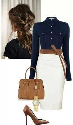 dd9a96065af Love the top and skirt A classy business outfit can be put together by  simple pieces like a white pencil skirt and dark blue military style shirt  when ...