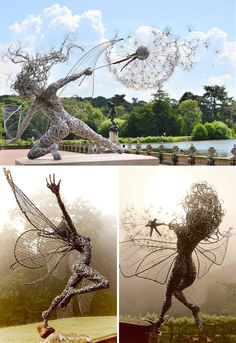21 gravity-defying sculptures that will make you look twice (Wire Fairies By Robin Wight) Robin Wight, Book Sculpture, Sculptures, Foto Poster, Creation Art, Art Japonais, Best Iphone Wallpapers, Outdoor Art, Wire Art