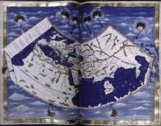 Blue world This amazing image is part of a series of maps in a manuscript from the 1460s. What is striking is not just that we can so clearly recognize Europe, Asia and Africa, but that these continents are depicted so incredibly beautifully, in deep blue and gold. The map seems to float in space and above it various winds are blowing, produced by men with toy trumpets. Clouds are quietly drifting by. Who can resist jumping in and becoming part of this intoxicating blue world? Pic: New York…