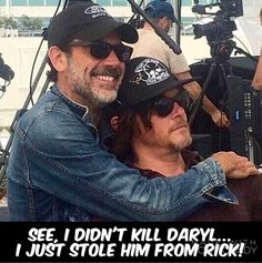 Jeffrey Dean Morgan (Negan) and Norman Reedus (Daryl Dixon) from The Walking Dead