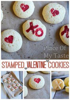 Kartoffeldruck muss nicht immer auf Papier sein! :-) Valentinskekse mit Herzen