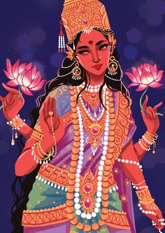 tinasol: Illustration of the Hindu goddess Lakshmi for an event. (No offense to people of this culture but your religion/culture has such beauty in it and I think it's gorgeous! Goddess Art, Goddess Lakshmi, Indian Illustration, Pin Up Illustration, Les Religions, India Art, Sacred Feminine, Hindu Deities, Indian Gods
