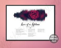 Love of a Lifetime, Custom Sound Wave and Lyrics art, Printable digital poster, Instant download files, Personalized soundwave gift Sound Wave Picture, Making Memories Of Us, Love Of A Lifetime, Defying Gravity, Rainbow Connection, Sound Waves, Greatest Songs, You Are The Father, Custom Art