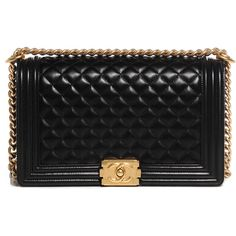 CHANEL Lambskin Quilted New Medium Boy Flap Black NEW ❤ liked on Polyvore featuring bags, handbags, chanel, clutches, purses, malas, quilted handbags, black quilted purse, hand bags and black shoulder bag