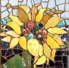 Sunflower by Anja Hertle ~  Maplestone Gallery  ~  Contemporary Mosaic Art
