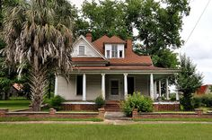 Pitts GA Wilcox County Neoclassical Vernacular Architecture House with Palm Tree Lantana Picture Image Photograph © Brian Brown Vanishing South Georgia USA 2013