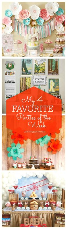My 4 Favorite Parties: Carousel 1st birthday, a National Park party, a Little Red Riding Hood Picnic party and a vintage airplane baby shower. | CatchMyParty.com