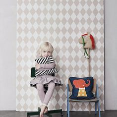 Cute for back of cabinets Ferm Living Shop — Harlequin (Rose) Wallpaper Ferm Living Wallpaper, How To Hang Wallpaper, Paper Wallpaper, Rose Wallpaper, Kids Wallpaper, Diamond Wallpaper, Wallpaper Ideas, Baby Decor, Kids Decor