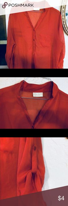 Blouse Burnt red orange Bobbie brooks 1x blouse. 23 inch bust 34 inch long Tops Blouses
