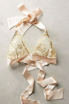 Lingerie Gilda & Pearl Ribboned Gold Bralette Stores that normally have higher end furniture also ha Diy Bralette, Jolie Lingerie, Luxury Lingerie, Sewing Lingerie, Lingerie Dress, Diy Clothing, Sewing Clothes, Bra Pattern, Bridal Lingerie