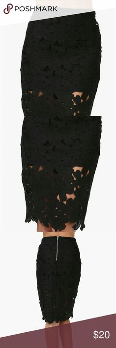 Black Crochet Skirt Simply a beautiful pencil skirt with it's floral and crochet design. You are sure to fall in love with it's feel and look. Skirts Pencil