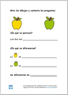 Material para trabajar semejanzas y diferencias. Speech Language Pathology, Speech And Language, Dual Language, Spanish Lessons, Learning Spanish, Love Speech, Learning Sight Words, Spanish Classroom, Language Activities