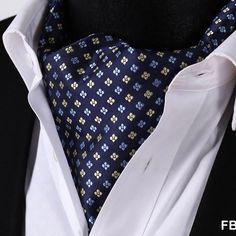 Navy Yellow Paisley Floral 100%Silk Ascot Cravat For Men - $65.99