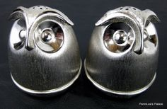 Napier Brushed Silvertone Owl Salt and Pepper Shakers