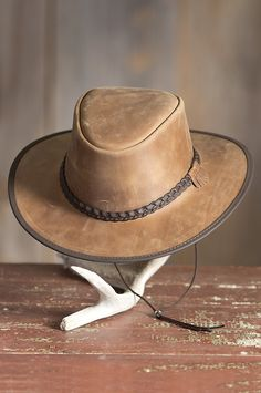 18014d232f9 Bravo Leather Hat with Chinstrap Mens Leather Hats