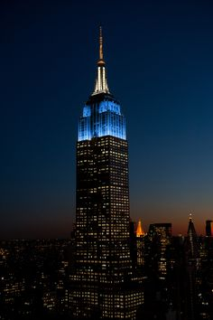 April 14, 2016: The Empire State Building beams in the colors of the New York City flag (blue, white and orange) to celebrate the finale of the 50th Anniversary of the NYC Landmarks Law with the @nyclandmarks50 Alliance, which works to protect and preserve the city's historic treasures.