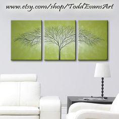36 inches, Olive Green, 3 piece Wall art set, Large Wall Art Canvas Trees, Green, Triptych art, painting, tree decor original by ToddEvansArt, $70.00