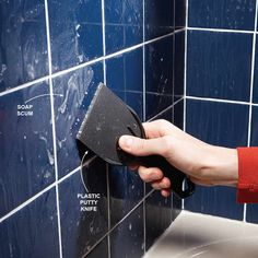 Scrape scum with a plastic putty knife. Soap has a nasty way of forming a hard-to-remove film on tile in tubs and showers. You won't get rid of it by rubbing. Instead, wait for the surface to dry, then scrape off the scum with a plastic putty knife. Household Cleaning Tips, House Cleaning Tips, Diy Cleaning Products, Cleaning Solutions, Spring Cleaning, Cleaning Hacks, Cleaning Routines, Cleaning Mold, Cleaning Checklist