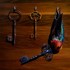 'The Skeleton Key' by @jacubgagnon. Find out more about Jacub and see more of his amazing art in his interview at wowxwow.com. (painting, bird, animals, nature, wildlife, connections, interconnectedness, narrative, human condition, surreal, surrealism)