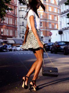 skirt and Chanel Flap Bag