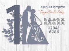 Table numbers - SVG, DXF, ai, CRD, eps - Laser Paper Cut - Silhouette Cameo - Cricut - Instant Download 036 by TanyaStudioShop on Etsy
