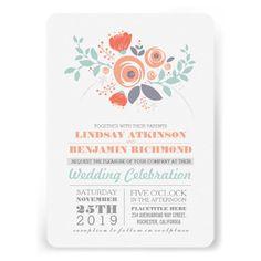 Painted flowers cute romantic wedding invitation