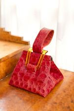 STUNNING 1940'S RED CROCODILE SKIN AND APPLE JUICE BAKELITE HANDBAG