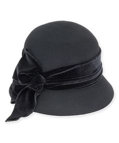 Another great find on #zulily! Black & Gray Ribbon Bow-Accent Wool-Blend Cloche #zulilyfinds