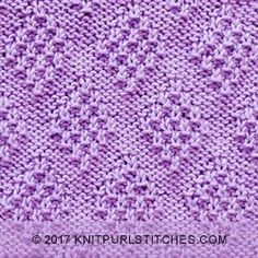 Over 100 knitting stitch patterns that can be made using only knit and purl stitches. Skill levels range from easy to intermediate