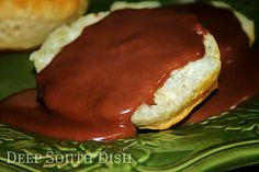 Chocolate gravy and biscuits!  Another one of Mom's specialties!  This recipe is the closest I've seen to hers.  (Sometimes she would doctor up a box of chocolate pudding mix to save time, but that little secret got exposed a few years back!)