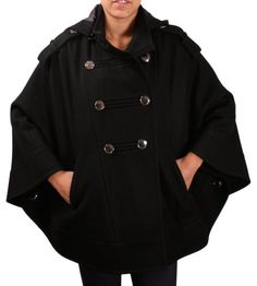 Kenneth Cole New York Women's Wool Cape Jacket Coat Reviews -      $  150.00  100% Authentic Merchandise From Street ModaFor best fit, see measurements for each size, available in description below.Street Moda Offers For US (Domestic) Customers Free