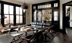 dark floors | black trim | white walls