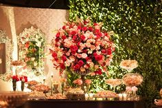 Decoração de Casamento Rosa e Vermelha   Peguei o Bouquet