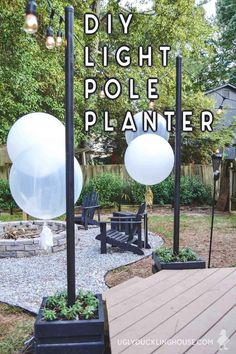 DIY Outdoor Light Pole Planters Around the Deck These DIY light pole planters were made from scrap wood and are weighted to keep them from tipping over. Lots of great tips in this tutorial! Free plans too! Diy Patio, Backyard Patio, Backyard Landscaping, Outdoor Patios, Backyard Designs, Rustic Outdoor, Backyard Lighting, Outdoor Lighting, Patio Lighting Ideas Diy