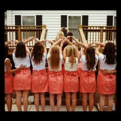 Chi omegas representing in Frill's coral skirts!