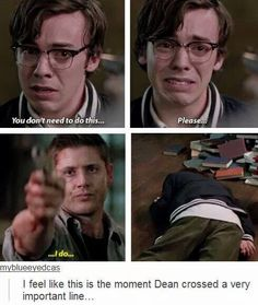 At which point, we all realized just how much of a hold the Mark had on Dean. I was quietly saying to myself in this scene. He's just a kid, Dean. Put the gun down. Dean Winchester, Winchester Brothers, Misha Collins, Destiel, Jensen Ackles, Emmanuelle Vaugier, Roman, Supernatural Fandom, Supernatural Quotes