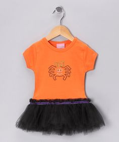 Take a look at this Orange & Black Spider Tutu Tee - Infant, Toddler & Girls by T-Shirt Tutus on #zulily today!