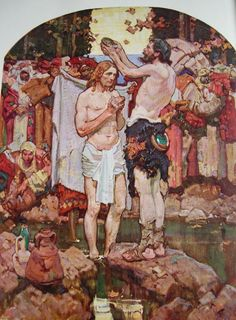 The Baptism of Jesus Dean Cornwell Illustration x 18 cm. From The Man of Galilee, described by Bruce Barton (Cosmopolitan Book Corporation, New York: Norman Rockwell, Rockwell Kent, American Illustration, Illustration Art, Dean Cornwell, Evans Art, Sacred Art, Illustrations And Posters, Christian Art