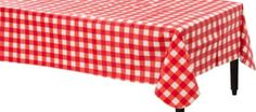 American Summer Red Gingham Flannel-Backed Vinyl Table Cover 52in x 70in - Party City
