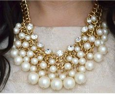 white pearls statement necklace