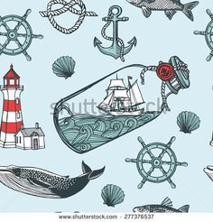 Hand drawn vintage nautical seamless pattern. Anchor, fish, steering wheel, ship in a bottle, sea shell, lighthouse, whale. Blue background - stock vector